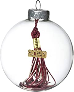 Tassel Depot 2020 Graduation Ornament - Over a Hundred Colors Available -Maroon/White