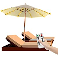 Dr. Prepare Patio Umbrella Light, Outdoor Umbrella Lights Battery Operated, 104 LEDs, 8 Lighting Modes, Remote Control, Waterproof for 7-10 ft Umbrellas Garden Beach Tents, 3AA Batteries Not Included