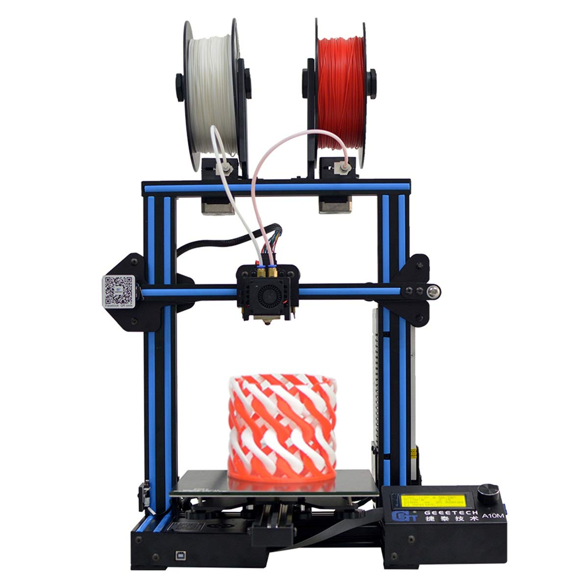 GEEETECH A10M 3D-Drucker mit Mix-Color-Druck, Dual-Extruder-Design, Filament-Detektor und Break-Resuming-Funktion, Prusa I3 schnell-Montage DIY-Kit.