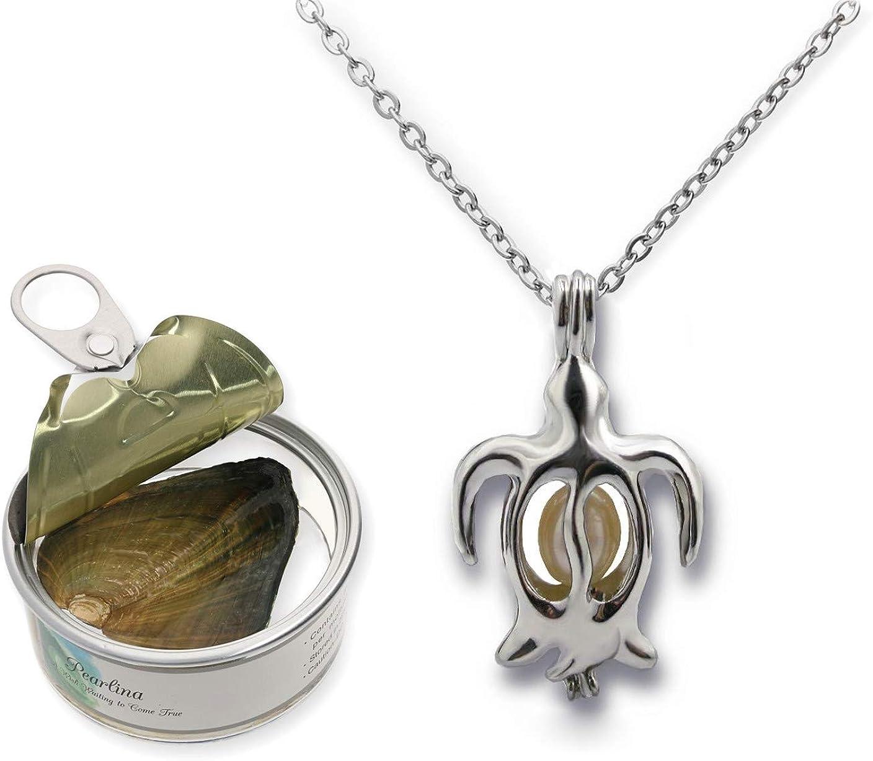Pearlina Collar de Tortuga Perla cultivada en ostra Jaula chapada en Tono Plateado con Cadena de Acero Inoxidable para Mujer 18