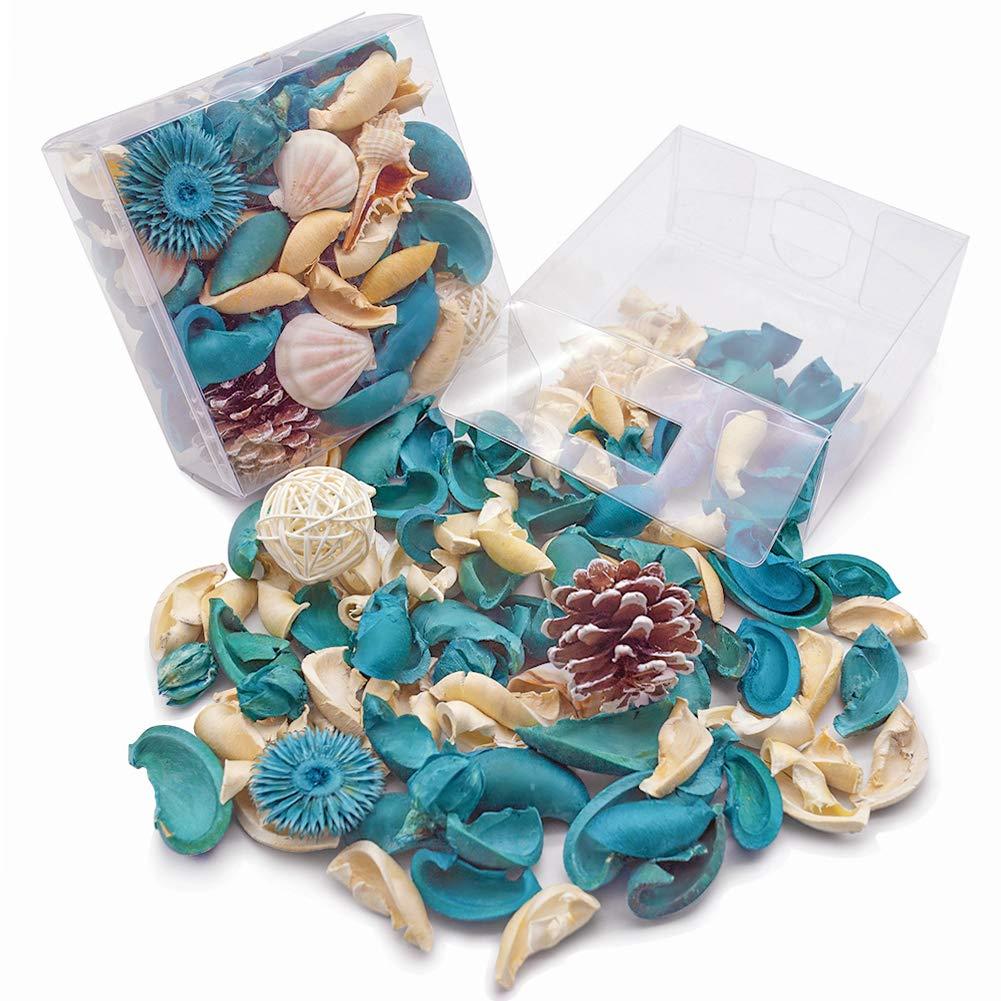 DomeStar Sea Shell Potpourri Bag, Fresh Ocean Scent Sea Shell Conch and Rattan Ball Sachets Decorative Spring Fragrance Bowl Filler and Vase Filler