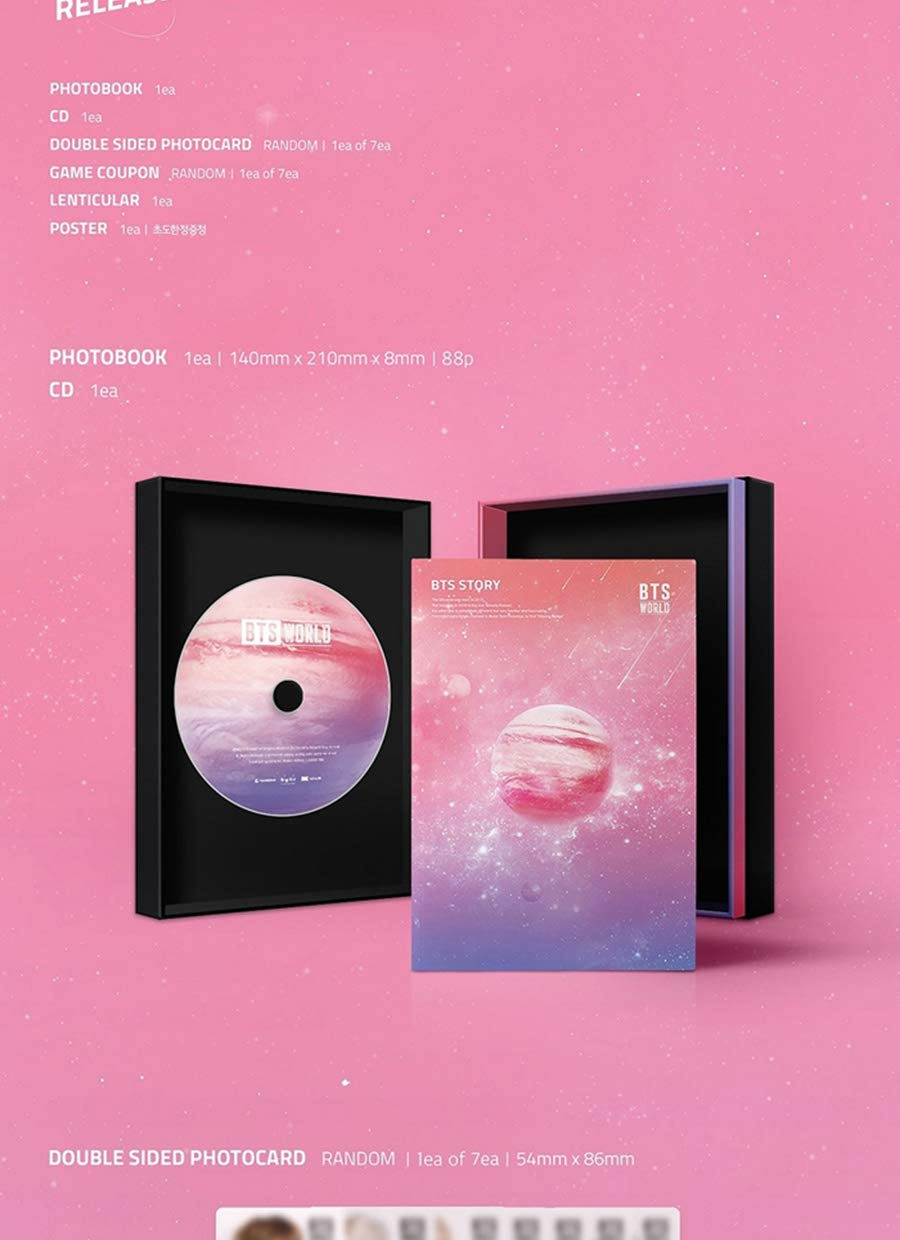 BTS WORLD OST Album CD+POSTER+Photo Book+Double Sided Photo Card (1ea of  7ea)+BTS Game COUPON+Lenticular Card+Store Gift+TRACKING CODE