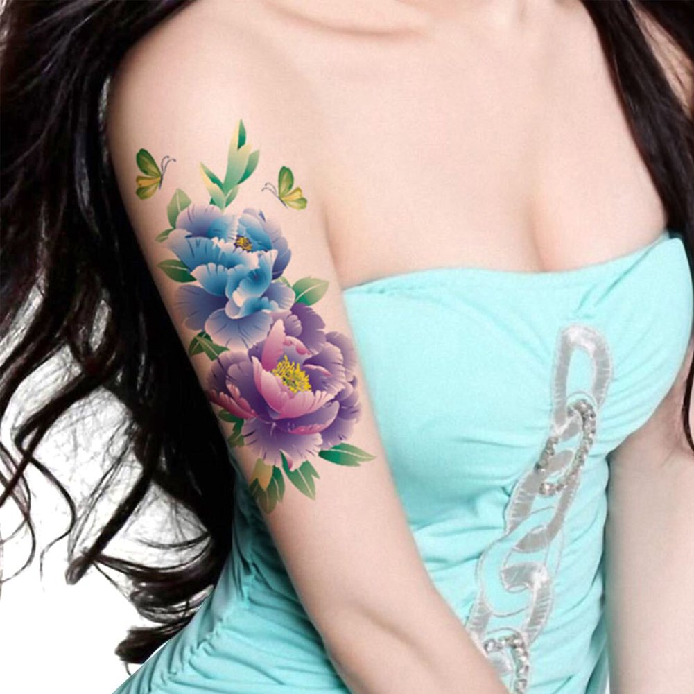 a8daded1c TAFLY Butterfly Large Peony Flower Body Art Temporary Tattoo Transfer  Sticker 5 Sheets