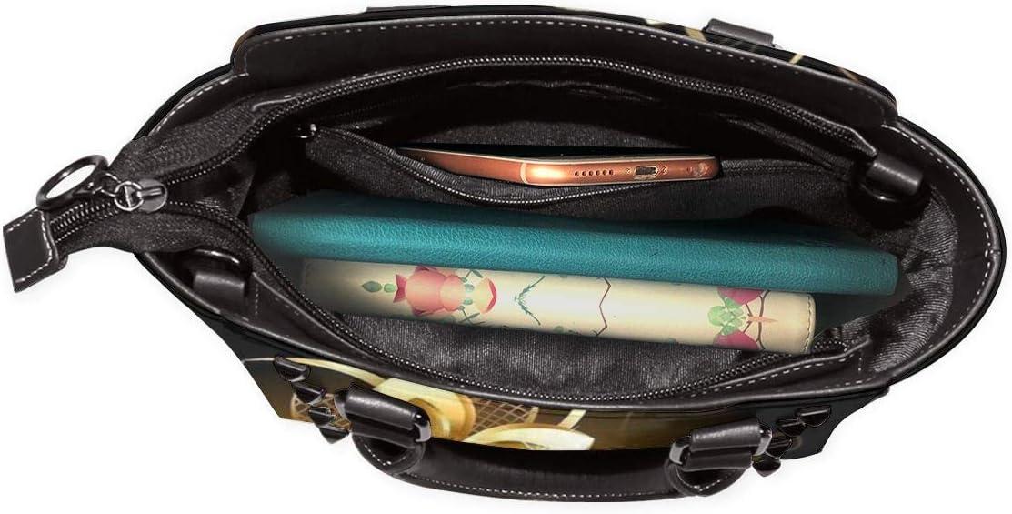 GHUJAOOHIJIO Flamingo and Pineapple Womens Rivet PU Leather Tote Bag Shoulder Bag Purse
