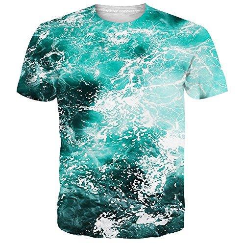 NEWISTAR Unisex 3D Printed Summer Wave Short Sleeve T Shirts Tees XL ()