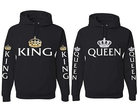 JWBBU King Queen Pullover Pärchen Set Hoodie mit Kapuze Sweatshirt Partner  Look Schwarz Jungen mit Aufdruck 7ff5bac2f2