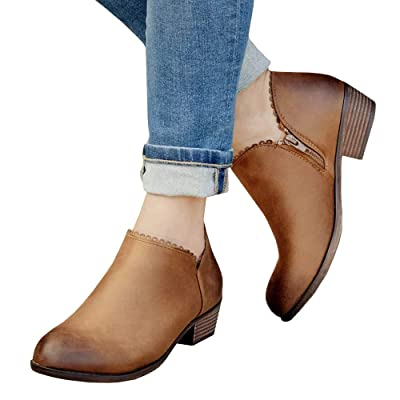 Liyuandian Womens Cut Out Slip On Ankle Booties Chunky Low Heel Casual Western Boots | Ankle & Bootie