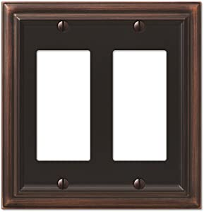 Amerelle Continental Double Rocker Cast Metal Wallplate in Aged Bronze