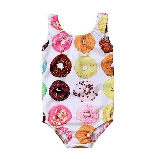 36b9ebc801 Lamuusaa Toddler Baby Kid Girls Doughnut Swimsuit Sleeveless One-Piece  Swimwear Bathing Suit Bikini Tankini