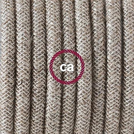Blanc Choisissez la Couleur de la fiche et de linterrupteur! creative cables Cordon pour Lampe c/âble RN01 Lin Naturel Neutre 1,80 m
