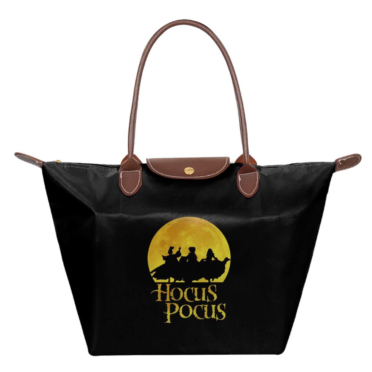 Hocus Pocus Dancing Moon Silhouette Waterproof Leather Folded Messenger Nylon Bag Travel Tote Hopping Folding School Handbags
