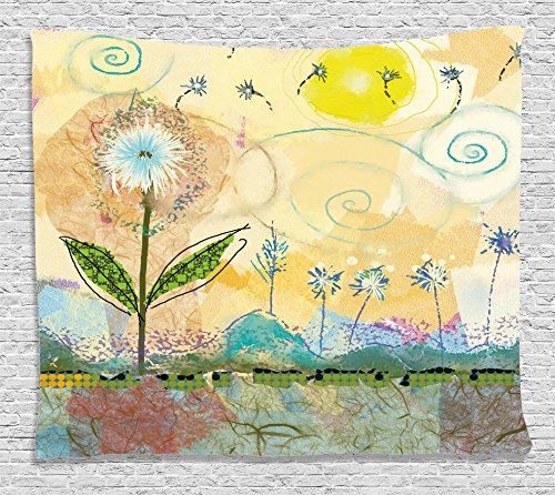 Ambesonne Watercolor Flower Home Decor Tapestry by, Abstract Painting with Childish Spirals and Sun Baby Nursery Theme, Wall Hanging for Bedroom Living Room Dorm, 80WX60L Inches, (Abstract Spiral Wall Art)