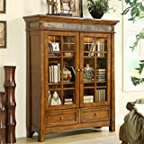 Riverside Furniture Craftsman Home Door Bookcase in Americana Oak For Sale