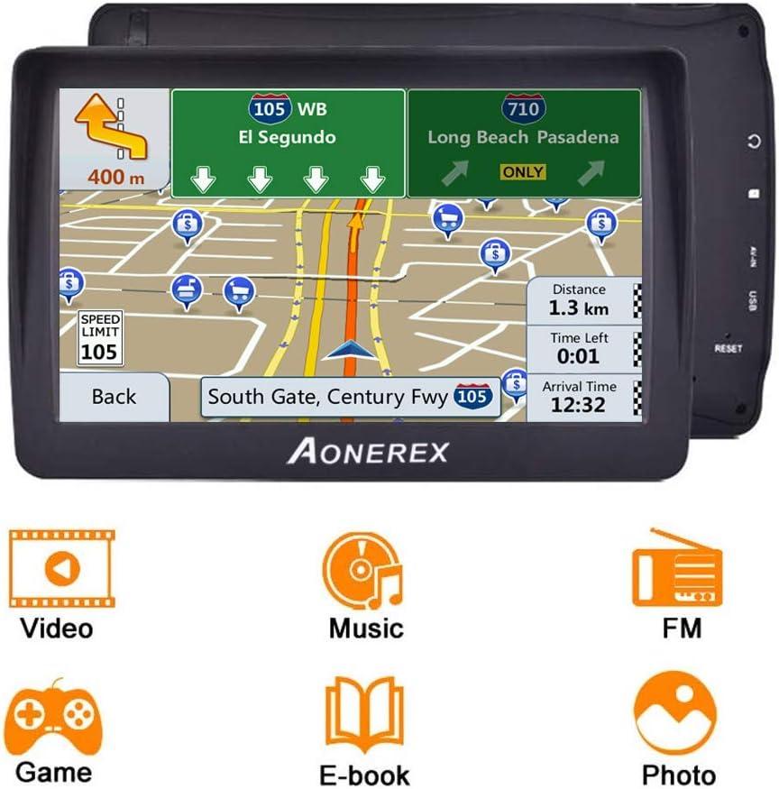 Aonerex GPS de Voiture /à /écran Tactile HD 7 8 Go et 256 Mo avec alertes radars de Vitesse et mises /à Jour gratuites des Cartes du Royaume-Uni et de lUE