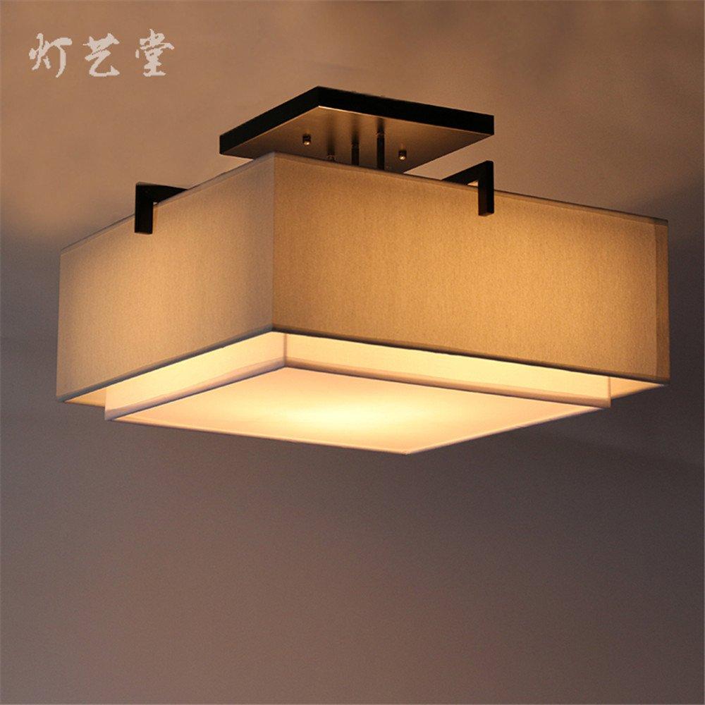 BRIGHTLLT Moderne und Minimalistische neue chinesische Deckenleuchte warmen Wohnzimmer Licht Studie retro square Schlafzimmer Stoffen, 450 * h 340 mm Lampen