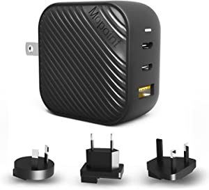 Mopoint 65W GaN USB C Charger GaN Type-C Charger with Foldable US Plug, 3-Port PD Fast Wall Charger Adapter with UK/EU/AU Travel Adapters, for MacBook USB-C Laptops iPad Pro iPhone Galaxy and More