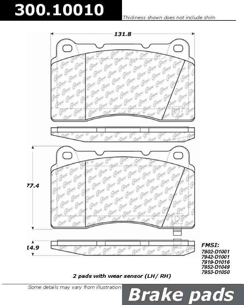 300.10010 Centric Brake Pad with Shoe Semi-Metallic