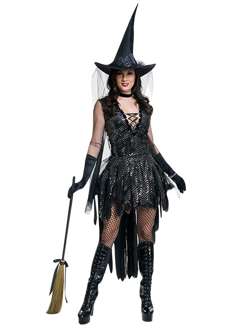 XUBA Traje de Bruja del Traje Sexy de Cosplay de Fiesta Las Mujeres para La Fiesta de de Maquillaje Traje de Rendimiento Elegante de Halloween Negro 6005f1