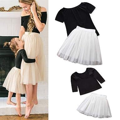 Fribro - Falda de Verano para Mujer y niña, Falda Blanca a la Moda ...