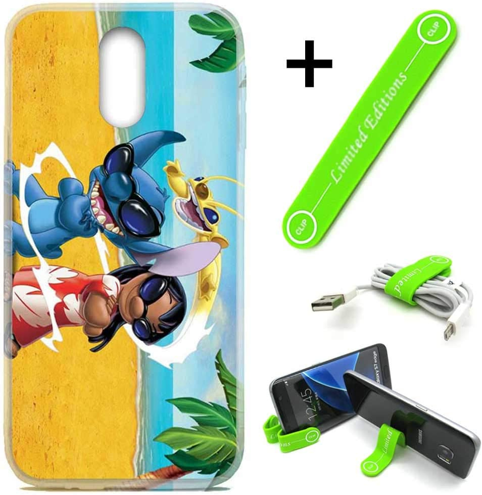 [Ashley Cases] for LG [Stylo 5] [Stylo 5 Plus] Cover Case Skin with Flexible Phone Stand - Stitch Lilo Sunglasses