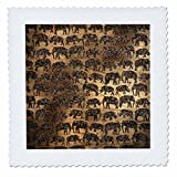 3dRose Uta Naumann Faux Glitter Pattern - Luxury Chic Gold and Copper Animal Elephant Africa Safari Pattern - 22x22 inch quilt square (qs_269043_9)