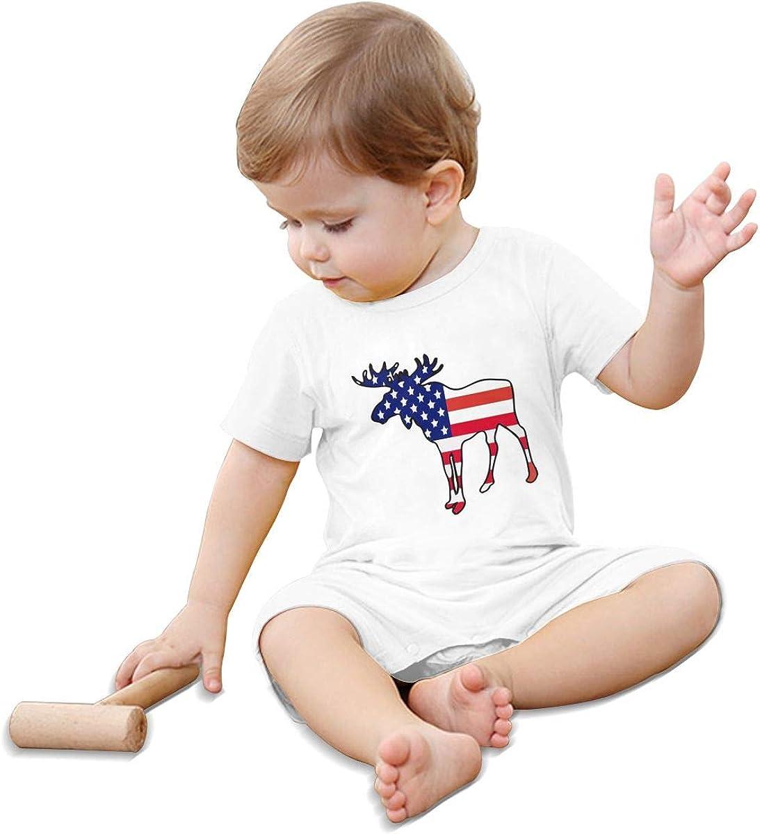Mri-le1 Baby Boy Girl Jumpsuit American Flag Moose Toddler Jumpsuit