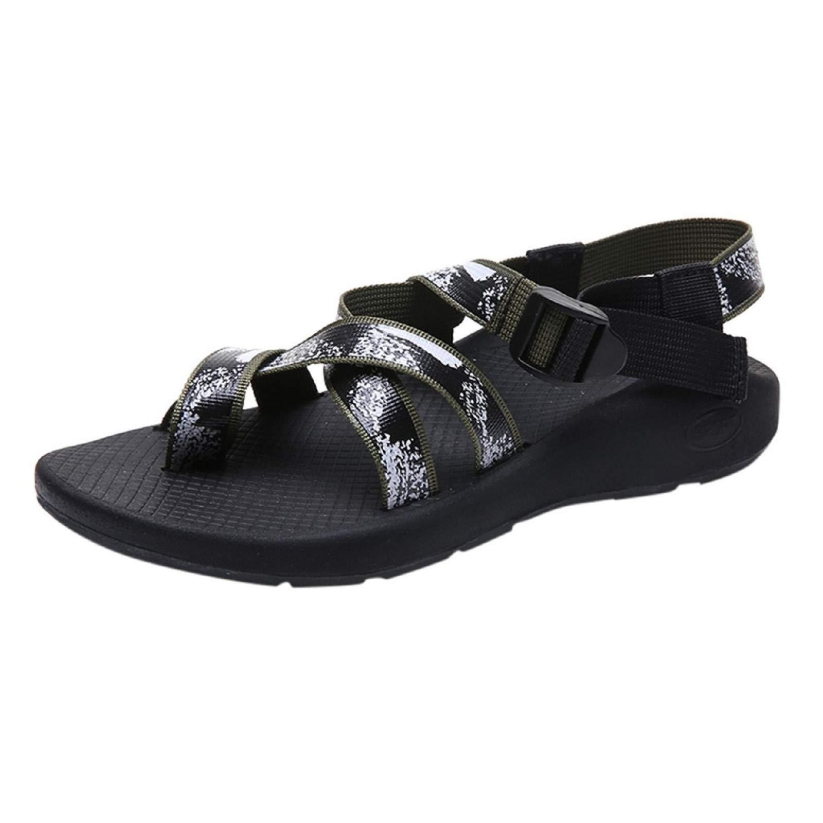 WQS001 Women's Casual Gladiator Sandals, Buckle Closure Flat Open Toe Sandals, 2019 Summer Beach Crisscross Thong Sandals Green