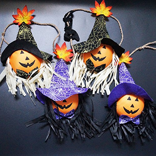 Costume Halloween 2016 Uk (Halloween Decoration Hanging Spooky Smiling Pumpkin Scarecrow Doll for Front Yard Patio Lawn Garden Halloween Party Décor)