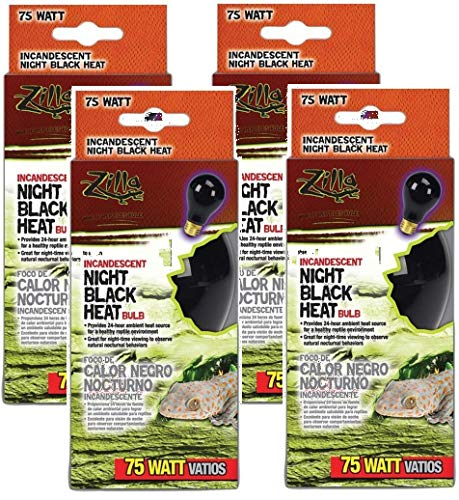 Zilla 4 Pack of Night Black Incandescent Heat Bulbs, 75 Watts (Reptile Glo Night Bulb)