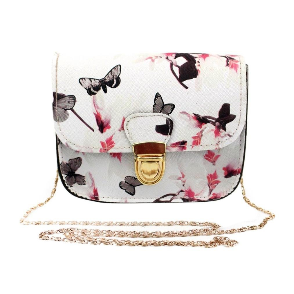 Outsta Butterfly Flower Printing Handbag,Women Shoulder Bag Tote Messenger Bag Phone Bag Coin Bag Travel Backpack Bucket Bag Classic Basic Casual Daypack Travel (White) by Outsta (Image #1)