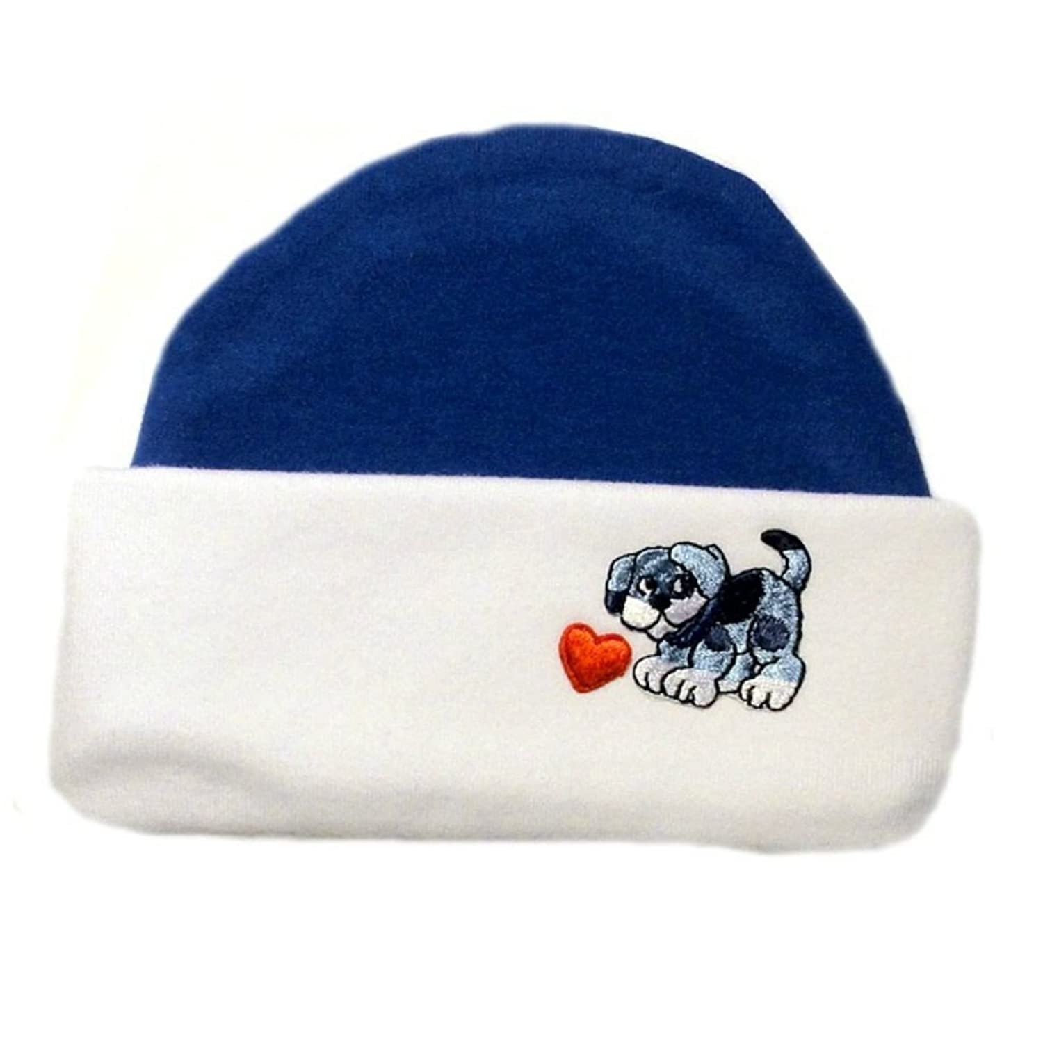 Jacqui's Baby Boys' Blue Puppy and Hearts Hat free shipping