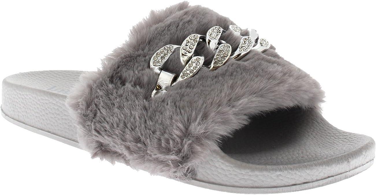 Womens Sassy Chic Summer Single Strap Open Toe Fluffy Flat EVA Fashion Sandals