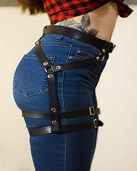 Black Details about  /Leather garter belt with stud detail