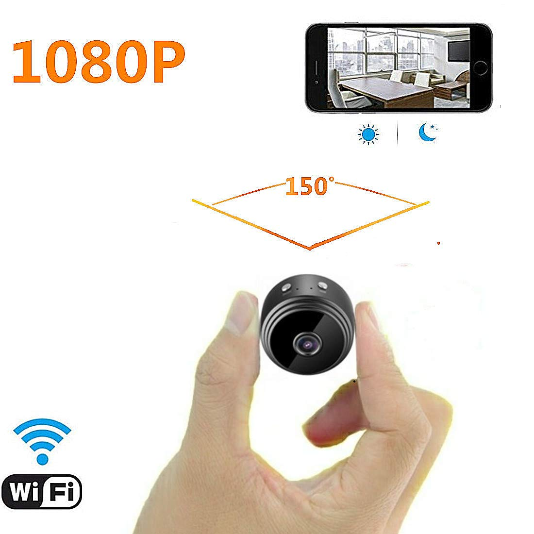 Mini Spy Camera WiFi Hidden Camera for Car, NANMING 1080P Wireless Small Indoor Home Security Cameras Nanny Cam with Motion Detection and Night Vision