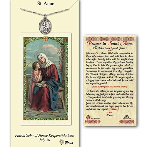 Saint Anne Medal Charm - Bonyak Jewelry Pewter St. Anne medal on an 18 inch Lite Curb Chain with a Prayer to St Anne Prayer Card.