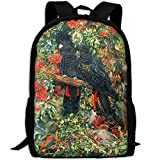 OIlXKV Black Cockatoo Print Custom Casual School Bag Backpack Multipurpose Travel Daypack For Adult