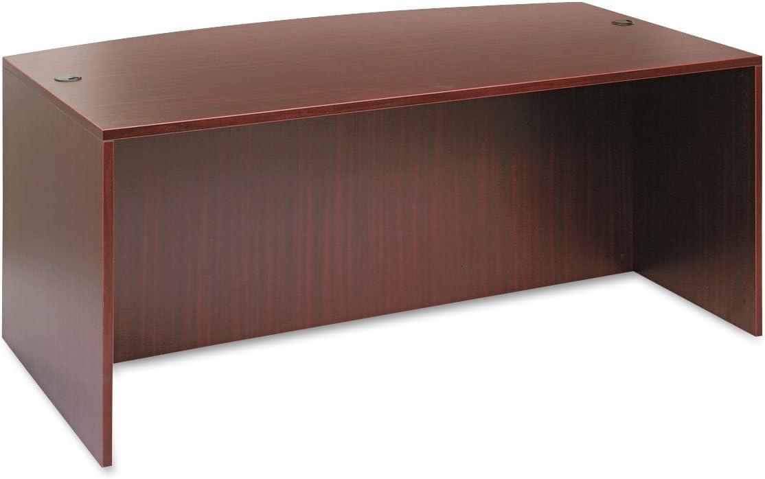 Alera ALE Valencia Bow Front Desk Shell, 71w x 35 1/2d to 41 3/8d x 29 5/8h, Mahogany