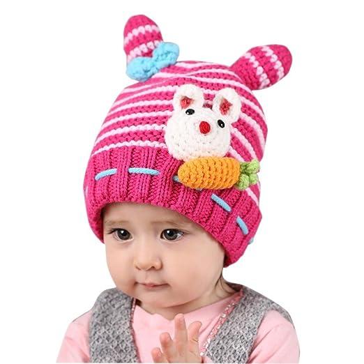 BIBITIME Eat Carrot White Knitted Rabbit Beanie Hat Crochet Bow Ears  Stripes Cap (8- ab616e03a3d