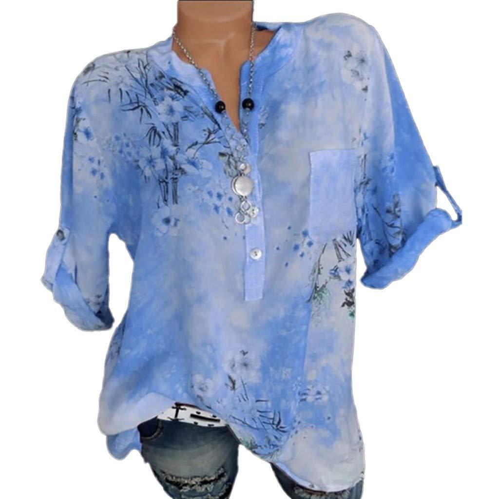 Kanpola Blumen Elegant Bluse Damen Oversize Henley Shirt V-Ausschnitt Kurzarm Tunika Bedruckte T-Shirts Casual Sommer Oberteile Mit Tasche