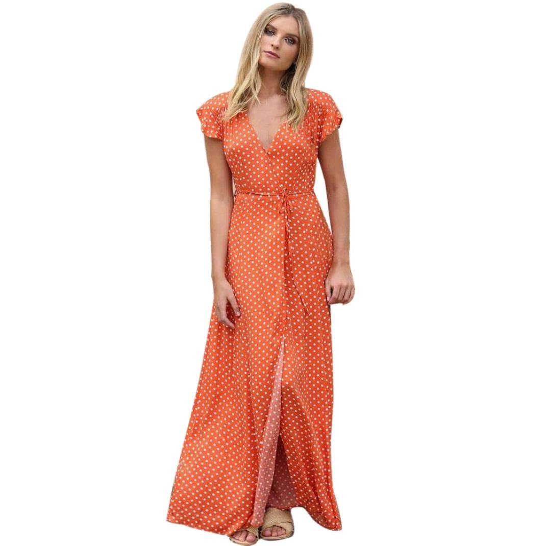 Anyren Womens Dot Bohemian Boho Long Dress Lady V-Neck Beach Summer Sundrss Maxi Cotton Dress (Orange, L)