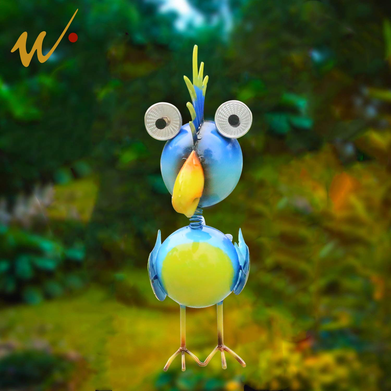 W-DIAN Solar Garden Lights Metal Art Outdoor Patio Decorative Animal Decor LED Lawn Metal Decorative Parrot Statue