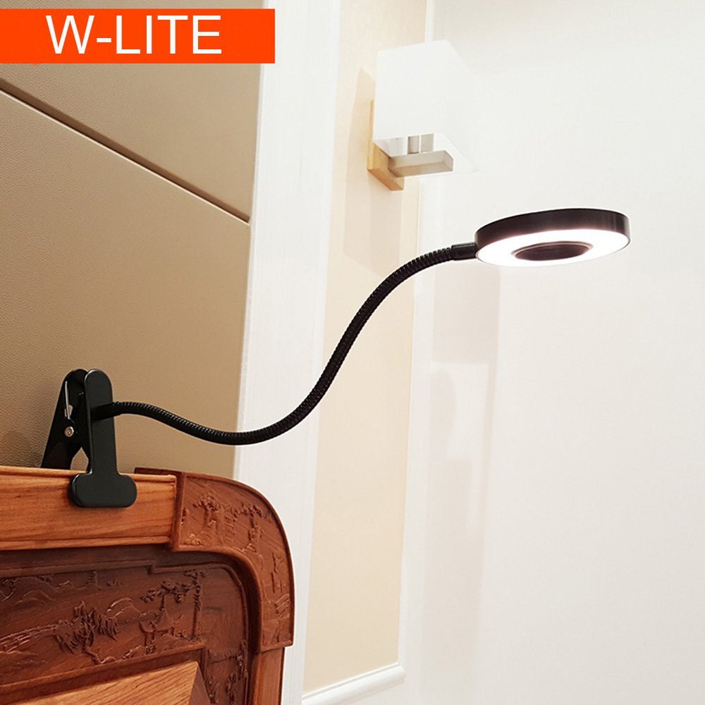 6W LED USB Dimmable Clip on Reading Light,Clip Laptop Lamp for Book,Piano,Bed Headboard,Desk,Eye-care 2 Light Color Switchable, Adapter Included(Black) by W-LITE (Image #1)