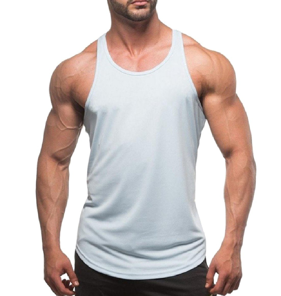 Abetteric Mens Solid Color Running Sleeveless Tanks Crewneck T Shirt White S