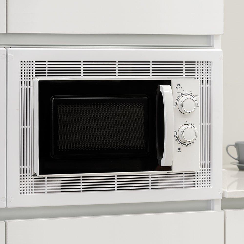 Emuca 8934751 Marco para encastrar microondas en mueble de 60cm en plastico níquel satinado/inox