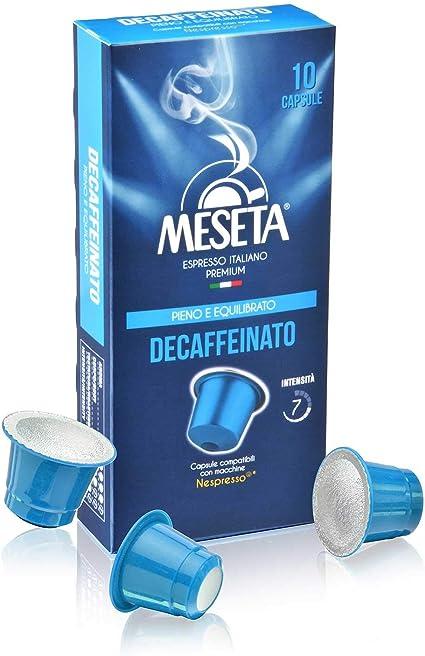 Meseta Cápsulas de Café Descafeinado Italiano, Compatible con el Sistema Nespresso, 10 cápsulas