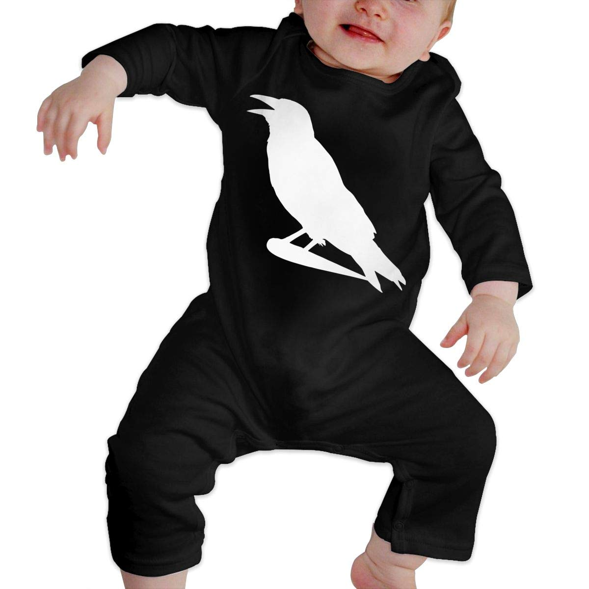 Infant Baby Girls Cotton Long Sleeve Crow Silhouette Climb Romper Funny Printed Romper Clothes