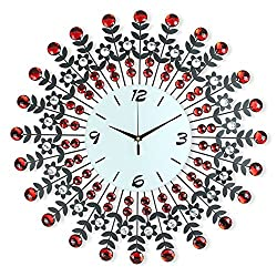 NEOTEND 3D Wall Clock 98pcs Diamonds Decorative Clock Red Diameter 23.6