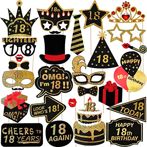 BESTOYARD Glitter 18th Happy Birthday Photo Booth Props Kit Birthday Party Selife Props Dress Up Accessory Pose Sign -