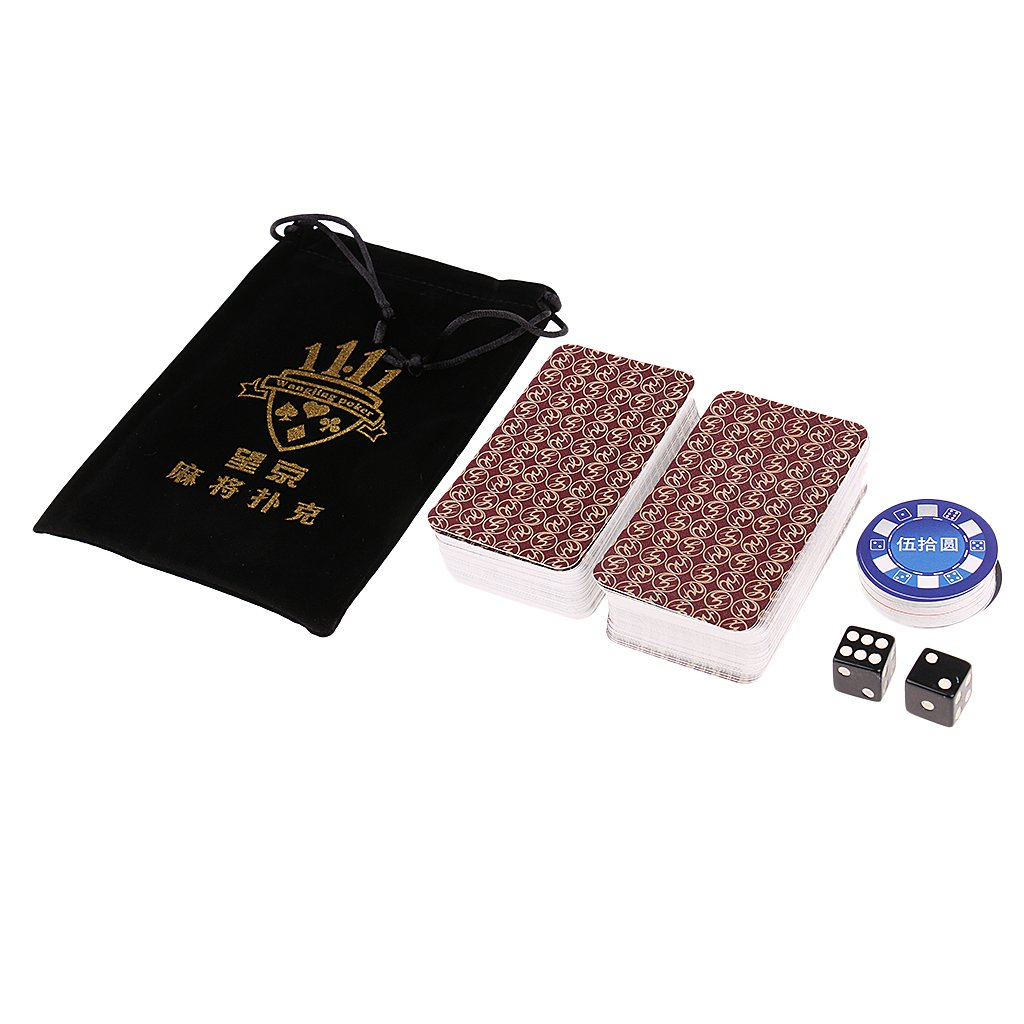 Fenteer Portable Paper Mahjong Poker Playing Cards Travel Mahjong Poker Card Mini - Red, as described