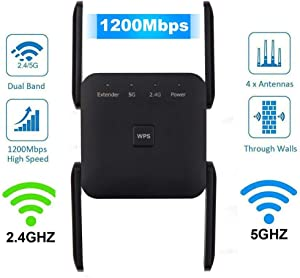 WiFi Extender, 1200Mbps WiFi Range Extender, WiFi Repeater Wireless Signal Booster, Dual Band 2.4G and 5G Expander, Support WPS One Button Setup with 4 External Antennas & 1 Ethernet Port (Black)